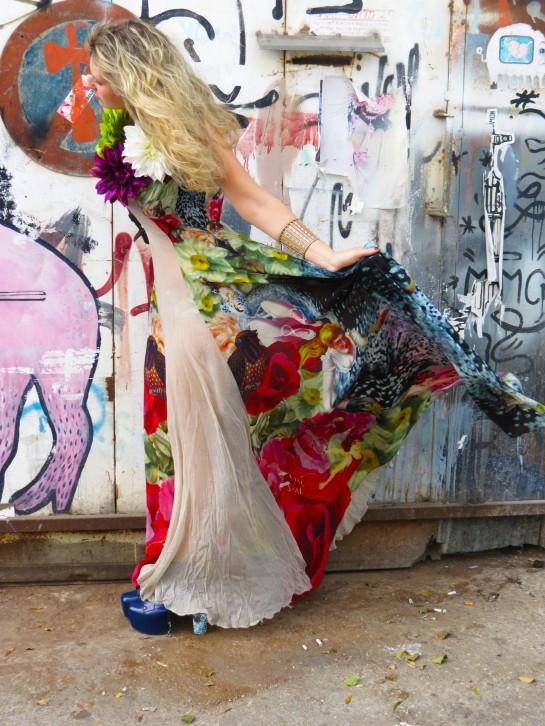 Flower print gown