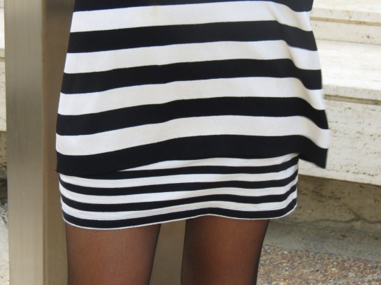 Big sweater and mini skirt
